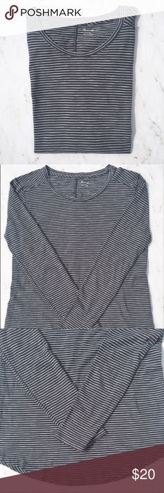 """Madewell Medium Grey White Stripes Long Sleeve Tee This is a Madewell Long Sleeves Tee. Size: Meiudm. Color: Grey and White. * Excellent used condition  * Long sleeves  * Stripes * U-hem * Made of 100% Cotton * Machine wash * Approx measurements: Chest: 36"""". Waist: 34"""". Hip: 36"""". Length: 26"""". Sleeves: 23"""". Madewell Tops Tees - Long Sleeve"""