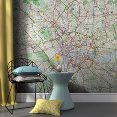Repositional self-adhesive map wallpaper for your home or office. Wide range of mural sizes, map styles & custom options . Wallpaper Size, Wallpaper Paste, Self Adhesive Wallpaper, Victorian Terrace House, House Names, Half Walls, Old Wall, London Street, Wall Spaces