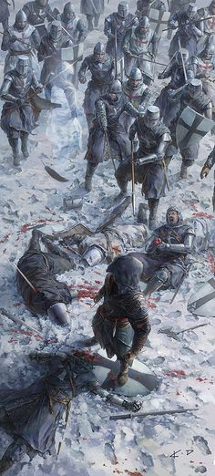 This is artwork from the video game series Assassin's Creed, but it is an interesting Medieval battle scene Asesins Creed, Assassins Creed Art, Templer, Desenho Tattoo, Wow Art, Knights Templar, Video Game Art, Medieval Fantasy, Middle Ages