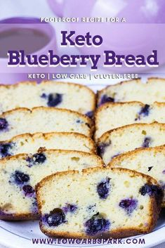 Easy Keto Blueberry Bread - Low-Carb Recipe This Keto Blueberry Bread is a low carb bread, perfect as a great breakfast or for a quick snack in between meals. This fantastic blueberry bread is gluten-free, grain-free and also sugar-free. Gourmet Recipes, Low Carb Recipes, Dessert Recipes, Healthy Recipes, Bread Recipes, Kitchen Recipes, Healthy Fats, Fish Recipes, Dinner Recipes