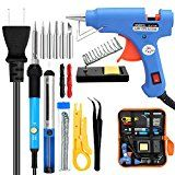 ANBES Soldering Iron Kit Electronics 60W Adjustable Temperature Welding ToolSoldering Gun with 5pcs Soldering TipSoldering Iron Stand20W Glue GunWire Stripper Cutter2pcs Electronic Wire
