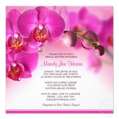 Floral Bridal Shower Invitation With Pink Orchids #BridalShower #Wedding #PinkWedding #FloralWedding