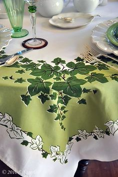 Tablecloth with Green & White Ivy Design .