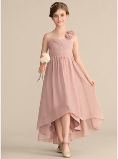 JJsHouse A-Line One-Shoulder Asymmetrical Chiffon Junior Bridesmaid Dress With Ruffle Flower(s) Bow( Dusty Rose Bridesmaid Dresses, Dusty Rose Dress, Pink Dress, The Dress, Childrens Bridesmaid Dresses, Dresses Kids Girl, Flower Girl Dresses, Robes Pour Juniors, Junior Dresses