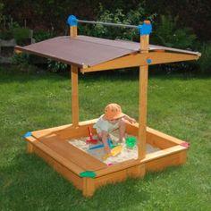 Exaco Maxi Sandbox with Toy Storage Box and Adjustable Roof Sandbox Cover, Kids Sandbox, Sandbox Sand, Sandbox Ideas, Toy Storage Boxes, Toy Boxes, Wooden Sandbox, Swing Set Accessories, Backyard Trampoline