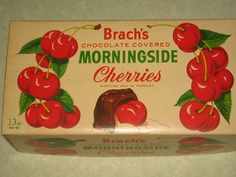 Brach's chocolate covered Cherries / I remember having these all the time so good. I wonder if they still are available Vintage Food Labels, Vintage Candy, Vintage Recipes, Vintage Valentine Cards, Be My Valentine, Christmas Past, Vintage Christmas, Cherry Candy, Cherry Cherry