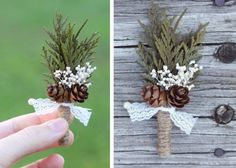 Wedding boutonniere for the winter. Cute!