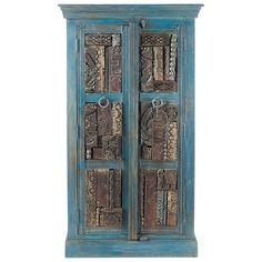 Armario de madera reciclada azul efecto envejecido An. 84 cm