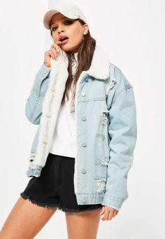 Missguided - Blue Faux Fur Lined Ripped Denim Jacket Jean Jacket Outfits, Blue Jean Jacket, Denim Outfit, Grunge Jacket, Painted Denim Jacket, Ripped Denim, Distressed Denim, Oversized Denim Jacket, Jeans Bleu