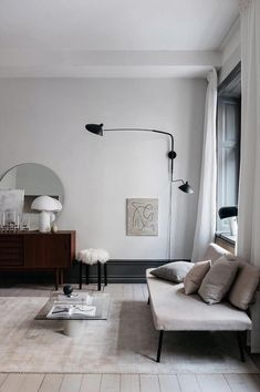 Black Industrial Swing Arm Lights in a  minimalist scandi living room via @an.interior.affair Living Room Scandinavian, Cozy Living Rooms, Living Room Decor, Scandinavian Lamps, Home Living, Modern Minimalist Living Room, Minimalist Rugs, Minimal Living, Salons Cosy
