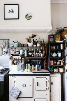vintage kitchen and vintage stove as counter top storage