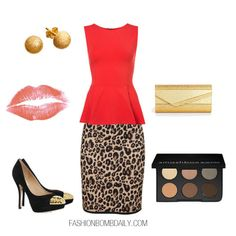 This red peplum top will skim along your hips and work in conjunction with the leopard print pencil skirt to highlight your curves. It's sexy without being scandalous. I wanted the focal point to mainly be the garments, so I kept it simple with gold studs, and a matching clutch. I also went for black pumps with a gold plated cap toe (they've been huge this season). Keep your lips a faint color, and go more a subtle smokey eye.