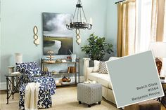Paint colors from our Summer 2015 catalog-Benjamin Moore Beach Glass Glass Slipper Benjamin Moore, Benjamin Moore Beach Glass, Benjamin Moore Paint, Bedroom Wall Colors, Room Colors, Bedroom Decor, Master Bedroom, Kitchen Paint Colors, Paint Colors For Home