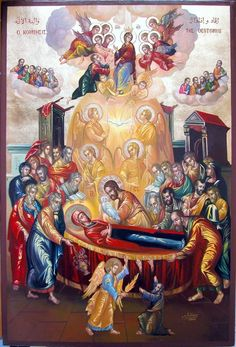 The Dormition of our Lady, Virgin Mary Religious Images, Religious Icons, Religious Art, Byzantine Art, Byzantine Icons, Church Icon, Christian Pictures, Mary And Jesus, Blessed Virgin Mary
