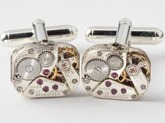 Steampunk cufflinks vintage rare Movado watch movements gears wedding grooms gift silver cuff links men jewelry by Steampunk Nation 1968 via Etsy