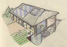 The Earth Home system is a fully integrated self sufficient building system, using local materials to meet all the needs of the occupants for comfort, water, sanitary waste, electricity, hot water and cooking, without the need for central power, water or sewer.