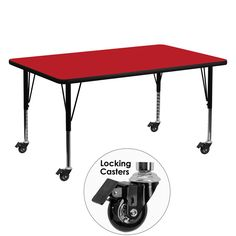 Mobile 30''W x 60''L Rectangular Activity Table with 1.25'' Thick High Pressure Red Laminate Top and Height Adjustable Preschool Legs