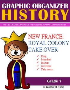 New France: Royal Colony in New France   Graphic Organizer   When New France was not prospering, the King of France decided to take over. He created a hierarchy system that put him in absolute power. The Sovereign Council was in charge of New France now and through this graphic organizer, your students will learn the important roles of Jean Talon, Francois de Laval, and Comte de Frontenac.   In this GRAPHIC ORGANIZER, students learn to take notes.  Canadian History Grade 7
