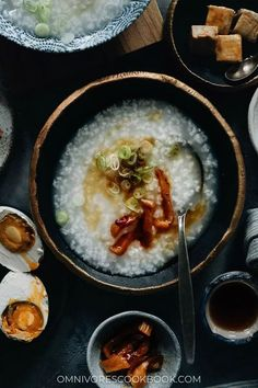 Not only is plain congee the ultimate comfort food, it's also an important staple on the Chinese dinner table - just as popular as steamed rice. Check out the recipe below for how to make congee on stovetop or in an Instant Pot, with various toppings that spice it up! {Gluten-Free, Vegan} Indian Food Recipes, Asian Recipes, Ethnic Recipes, Chinese Recipes, Asian Foods, Vegetarian Recipes, Healthy Recipes, Veggie Fries, Veggie Stir Fry