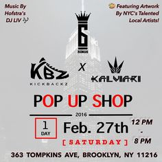 Streetwear. Kicks. Art. What's not to love? Come by our shop on the 27th for all the above and more! Livestreamed via Periscope!  Music by Hoftstra's own @thelivexperience_  Presented by @gson_nas and  @kalviaritheking  Photoshoot from 9-11am Offical opening at 12pm  View artwork from local artists as part of my #SixRingsKalviari contest! Shop high quality streetwear apparel from @SixRingsClothing and @kalviari  Shop Retro Air Jordan's and more from @kickbackz  Have a glass of wine courtesy…