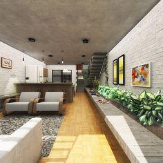 Casa Bonaventura Localização: São Paulo 125m² Projeto de casa unifamiliar em São Paulo, com adequação a topografia em aclive, uso de blocos descascados em pintura branca, vegetação abundante e espaços compactos com ambientes rústicos.