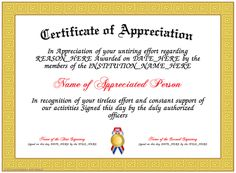 Lovely Appreciation   Here Is Our Free Appreciation Certificate For You To  Download And Print. Make Your Own Printable Certificates Of Appreciation  That You Can ...