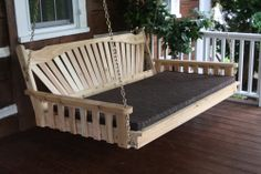 Red Cedar Fanback Hanging Swing Bed by ALFurnitureCo on Etsy Pallet Swing Beds, Diy Swing, Outdoor Garden Furniture, Outdoor Decor, Outdoor Living, Bed Cushions, Red Bedding, Red Cedar, Diy Bed