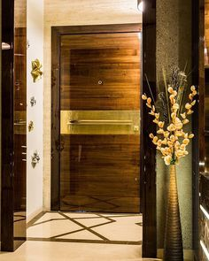 Super Modern Front Door Lighting Home Ideas Wooden Screen Door, Wooden Front Doors, Glass Front Door, Glass Door, Double Door Design, Main Door Design, Front Door Design, Front Door Lighting, Entrance Lighting