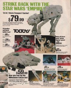 Star Wars toys displayed in a catalog, My Childhood Memories, Childhood Toys, School Memories, Star Wars Toys, Star Wars Art, Gi Joe, Retro Toys, Vintage Toys, Jouet Star Wars