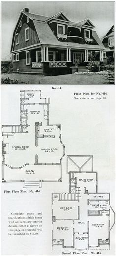 """1910 Dutch Colonial Revival - The Bungalow House - Henry Wilson - gambrel roof. and that """"Maid's Room""""."""