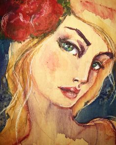 Watercolour on wood for my Wonderland Workshop #watercolorislife #janedavenportworkshops