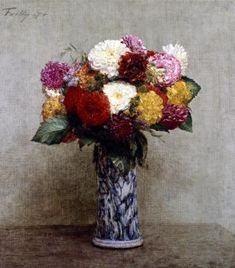 iCanvas Dahlias in a Chinese Vase, 1874 Gallery Wrapped Canvas Art Print by Ignace Henri Jean Theodore Fantin-Latour Henri Fantin Latour, Art Floral, Flower Vases, Flower Art, Vase Transparent, Paper Vase, Vase Shapes, Painting Still Life, Pottery Vase