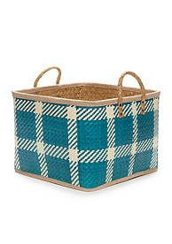 Elements Large Blue Palm Leaf Basket