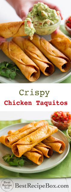 Chicken Taquitos or Crispy Rolled Tacos Recipe Easy Crispy Chicken Taquitos recipe or Rolled Chicken Rolled Tacos Recipe, Rolled Chicken Tacos, Shredded Chicken, Mexican Chicken Recipes, Mexican Dishes, Mexican Slaw, Mexican Easy, Mexican Tamales, Mexican Drinks