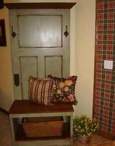 """Sage green with chocolate glaze hall tree made from an old 28"""" beadboard door and 100+yr old barn lumber"""