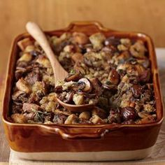 Sausage, Chestnut, and Mushroom stuffing (Williams-Sonoma) - I use cornbread crumbs for flavor and texture, and add 1-2 cups of a quick brown sauce (dark roux, sauce espagnole, etc.) to bind it.    Hint: bake stuffing in muffin tins instead of a large casserole dish - more surface area, so cooks more quickly and with almost no sogginess in the middle!