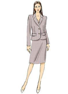 V9138 | Misses' Welt-Pocket Blazer, Vest and Straight Skirt | Vogue Patterns