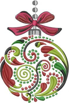 "Large Christmas Ornament embroidery design - 8.86""H x 5.97""W                                                                                                                                                                                 More"