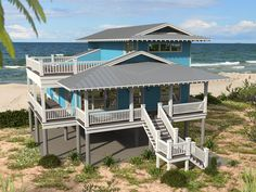 Bonefish Bay - Coastal Home Plans Beach Cottage Decor, Coastal Cottage, Coastal Homes, Beach Homes, Coastal Living, Coastal Bedrooms, Coastal Decor, Modern Coastal, Beach House Floor Plans