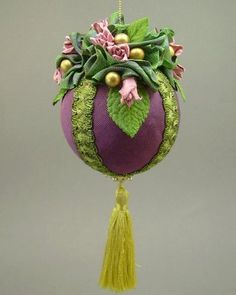 """Sarah Kate"" by Towers and Turrets  Purple Faille Fabric Ball Christmas Ornament with Parchment Roses"