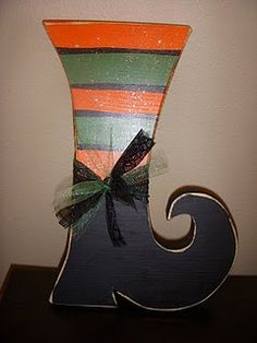 halloween wood crafts | Witches Boot - Wood Craft Halloween | crafting