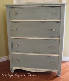 Antique dresser painted in Annie Sloan Duck Egg and Old White Chalk Paint.  Washed in Co Co.