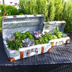 Set Of Two Galvanised Steel Suitcase Planters