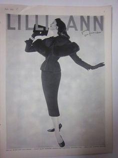 1957 Vintage Womens Lilli Ann Black Suit with Drama Fashion Ad