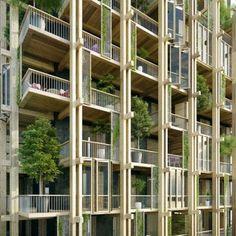 Tall Building Designs in Paris - e-architect Timber Architecture, Timber Buildings, Sustainable Architecture, Residential Architecture, Architecture Design, Building Facade, Green Building, Building Elevation, Balustrade Balcon