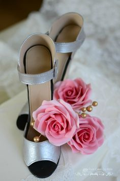 Inspired by Jimmy Choo's Bridal shoes, I made this creation...