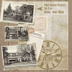 Two Good Places to Eat ~ Home and Here...scrap pages about family favorite outings with photos, memorabilia and great genealogical journaling documenting why these places were important fun activities for your family.