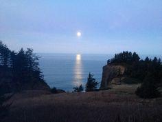 Moon setting near Cannon Beach