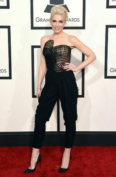 Grammy Awards Fashion Then & Now: Celebs Go From Naked to Covered Up | Now: Gwen Stefani in Atelier Versace