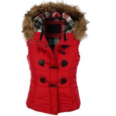 LE3NO Womens Classic Toggle Padded Puffer Jacket Vest with Faux Fur... ❤ liked on Polyvore featuring outerwear, vests, waist cincher vest, red puffer vest, red puffer jacket, hooded vests and red puffy jacket